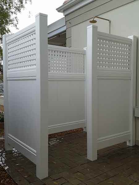 Pvc outdoor shower cubicle absolut fencing